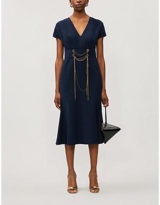 Oscar de la Renta Navy Blue Chain Applique Wool-Blend Midi Dress, Size: 8