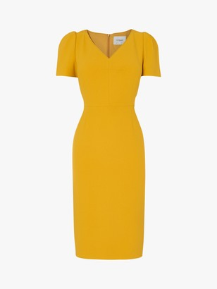 LK Bennett Rebecca Crepe Shift Dress, Mustard