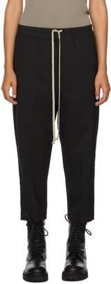 Rick Owens Black Cropped Drawstring Astaires Trousers