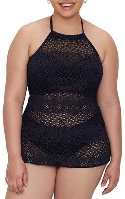 Elomi Plus Size Indie Crochet Wire-Free Tankini Cover-Up