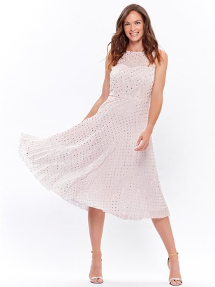 M&Co Spot print pleated midi dress