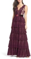 Mac Duggal Women's Belted Tiered Lace Column Gown