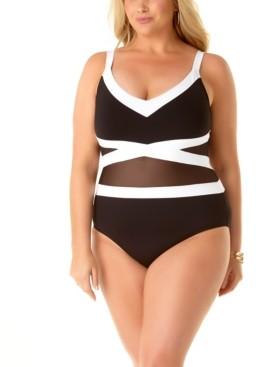 Anne Cole Plus Size Colorblock Mesh Underwire One-Piece Swimsuit Women's Swimsuit