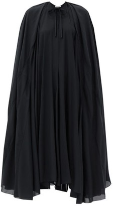 Balenciaga Caped Satin-crepe Dress - Black