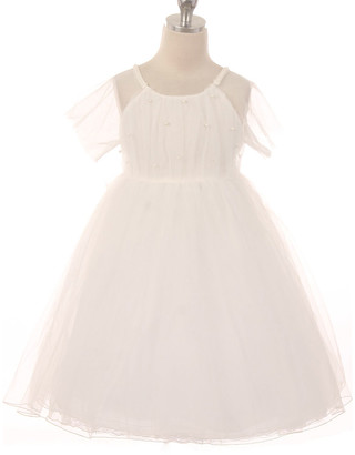 Off-White Kid's Dream Girls' Special Occasion Dresses  Mesh Imitation Pearl A-Line Gown - Infant & Girls