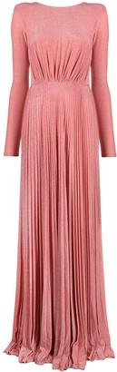 Elisabetta Franchi pleated V-back gown