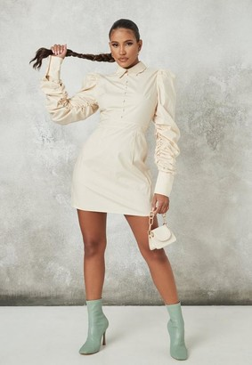 Missguided Stone Puff Sleeve A Line Shirt Dress