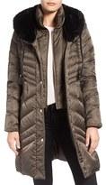 Via Spiga Women's Water Repellent Puffer Coat With Faux Fur Trim