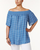 Style&Co. Style & Co Plus Size Off-The-Shoulder Checked Top, Created for Macy's