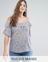 Alice & You Floral Cold Shoulder Woven Top With Ruffle