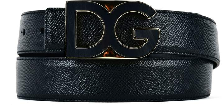 Dolce & Gabbana Leather Belt With Metal Logo Plate