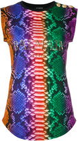 Balmain snake print iconic logo top - women - Cotton - 36