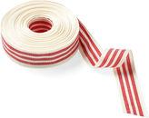 One Kings Lane 1.5 Woven Stripes Ribbon, Ivory/Red