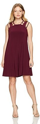 Love Scarlett Women's Petite Embellised Shoulder Flare Dress Cherry Wine P Extra Large