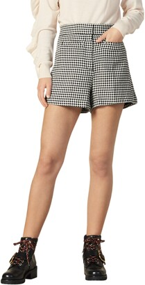 Sandro Missey Houndstooth Check Cotton & Wool Blend Shorts