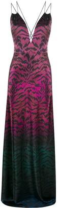 Saloni Tiger Print Ombre Gown