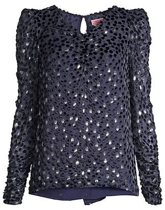 Kate Spade Velvet Dotted Princess-Sleeve Top