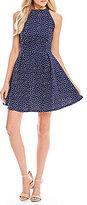 Copper Key Polka Dot Sleeveless Fit-and-Flare Dress