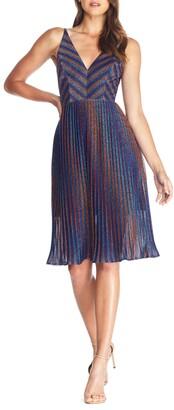 Dress the Population Haley Metallic Stripe V-Neck Cocktail Dress