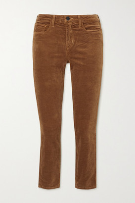 L'Agence Margot Cropped Cotton-blend Velvet Skinny Pants - Copper