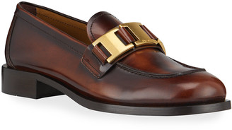 Prada Leather Logo-Plaque Loafers