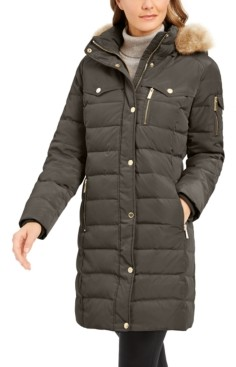 Michael Kors Michael Faux-Fur-Trim Hooded Down Puffer Coat, Created for Macy's