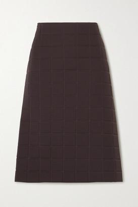 Bottega Veneta Quilted Gabardine Midi Skirt - Brown