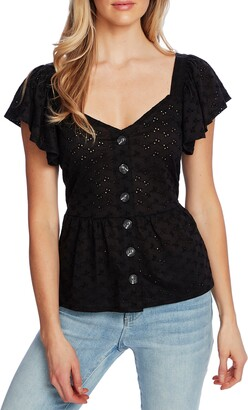 CeCe Sweetheart Neck Blouse