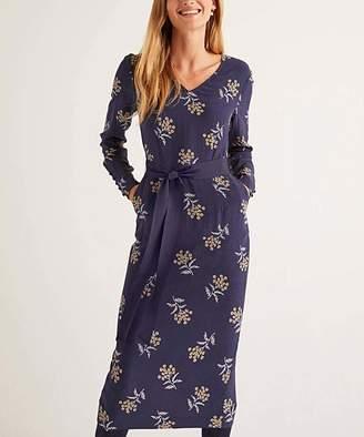 Boden Women's Casual Dresses French - French Navy Meadowsweet Romaine Tie-Waist V-Neck Dress - Women & Petite