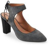 Tahari Slate & Black Altar Ankle Tie Pumps