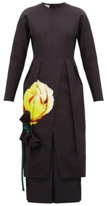 Prada Floral-applique Pleated Cotton Midi Dress - Womens - Black Yellow