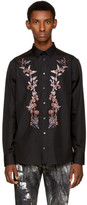 Alexander McQueen Black Embroidered Floral Shirt