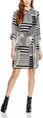 New Look Women's Freida Geo Zip Print Front Belt Shirt Long Sleeve Shirt Dress