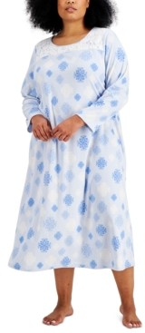 Charter Club Plus Size Printed Fleece Long Nightgown, Created for Macy's