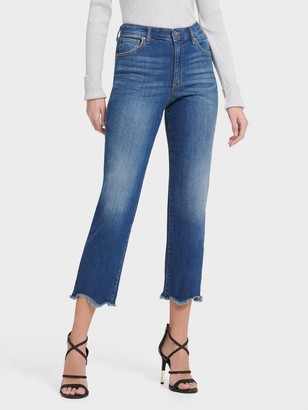 DKNY Women's High Rise Straight Crop Fray Hem Jean - Blue - Size 27