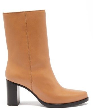 Legres - Stacked-heel Leather Boots - Womens - Tan