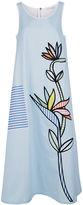 Mira Mikati Blue & White Bird Of Paradise Scuba Dress