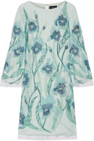 Marchesa Embellished Tulle Mini Dress - Mint