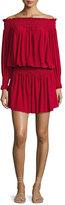 Norma Kamali Peasant Jersey Blouson Mini Dress, Red
