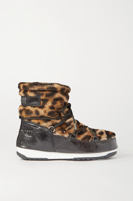Yves Salomon Moon Boot Leopard-print Shearling And Patent-leather Snow Boots - Leopard print