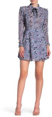SEE THE SHADES Floral Ruffle Tie Neck Dress