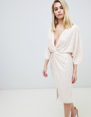 Little Mistress allover sequin knot front midi dress in rose gold