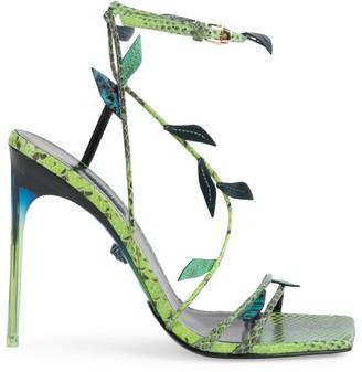 Versace Leaf Python-Embossed Leather Sandals