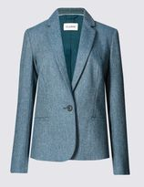 Marks and Spencer Textured Tweed Blazer with Wool