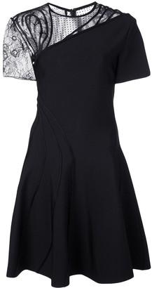 Oscar de la Renta asymmetric lace panel dress