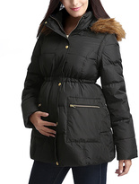 Black Mina Faux Fur Hooded Maternity Coat/Vest