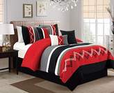 Chezmoi Collection Arden by 7 Pieces Modern Pleated Stripe Embroidered Zigzag Bedding Comforter Set (King