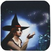 3dRose cst_28904_1 Magic Witch with Full Moon-Soft Coasters, Set of 4