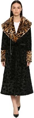 Astrakhan Faux Fur & Leo Maxi Coat