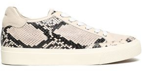 Rag & Bone Army Suede-paneled Snake-effect Leather Sneakers